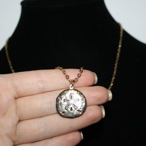 """Vintage gold necklace with sand dollar pendant 26"""""""